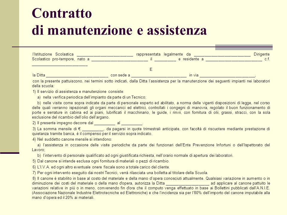 Contratto di manutenzione e assistenza