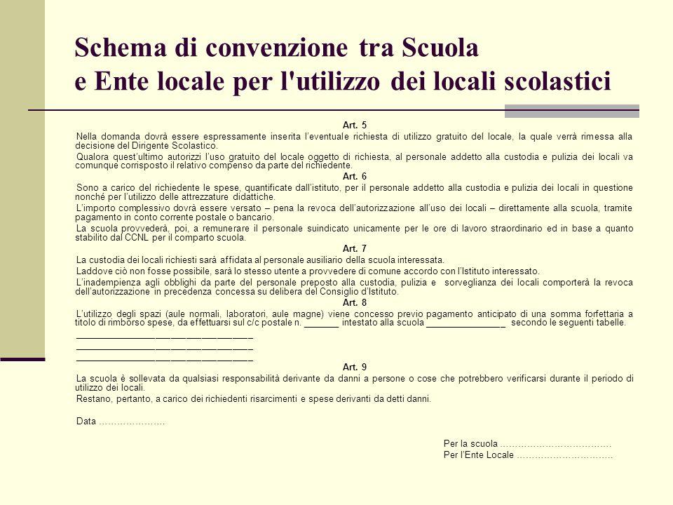 Schema di convenzione tra Scuola e Ente locale per l utilizzo dei locali scolastici