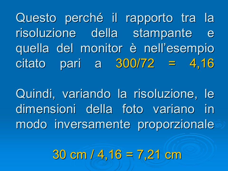 Questo perché il rapporto tra la risoluzione della stampante e quella del monitor è nell'esempio citato pari a 300/72 = 4,16 Quindi, variando la risoluzione, le dimensioni della foto variano in modo inversamente proporzionale 30 cm / 4,16 = 7,21 cm