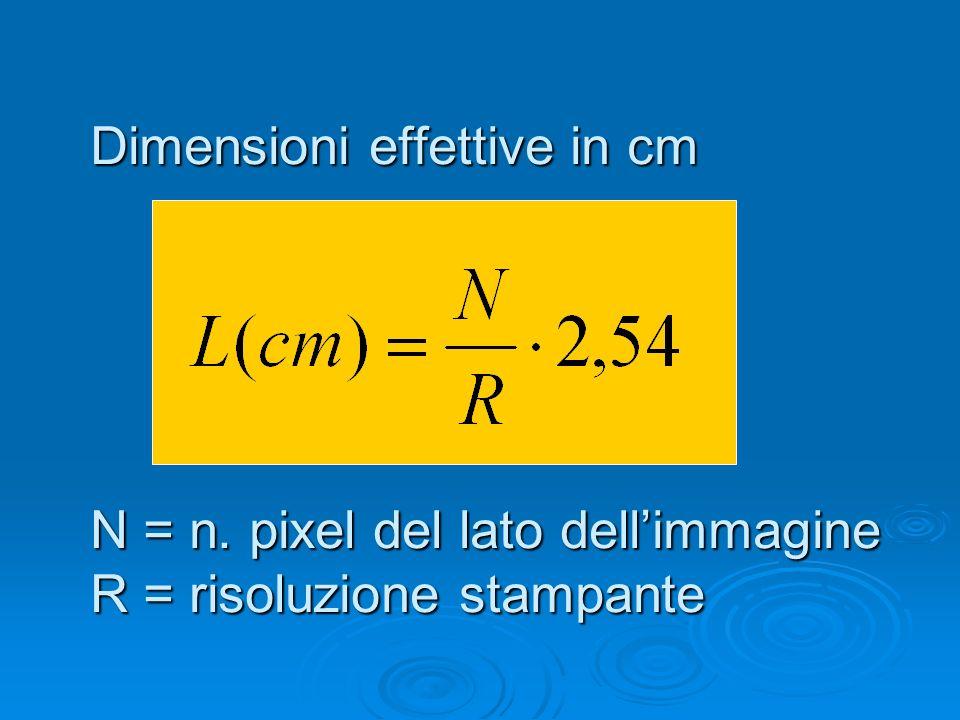 Dimensioni effettive in cm N = n