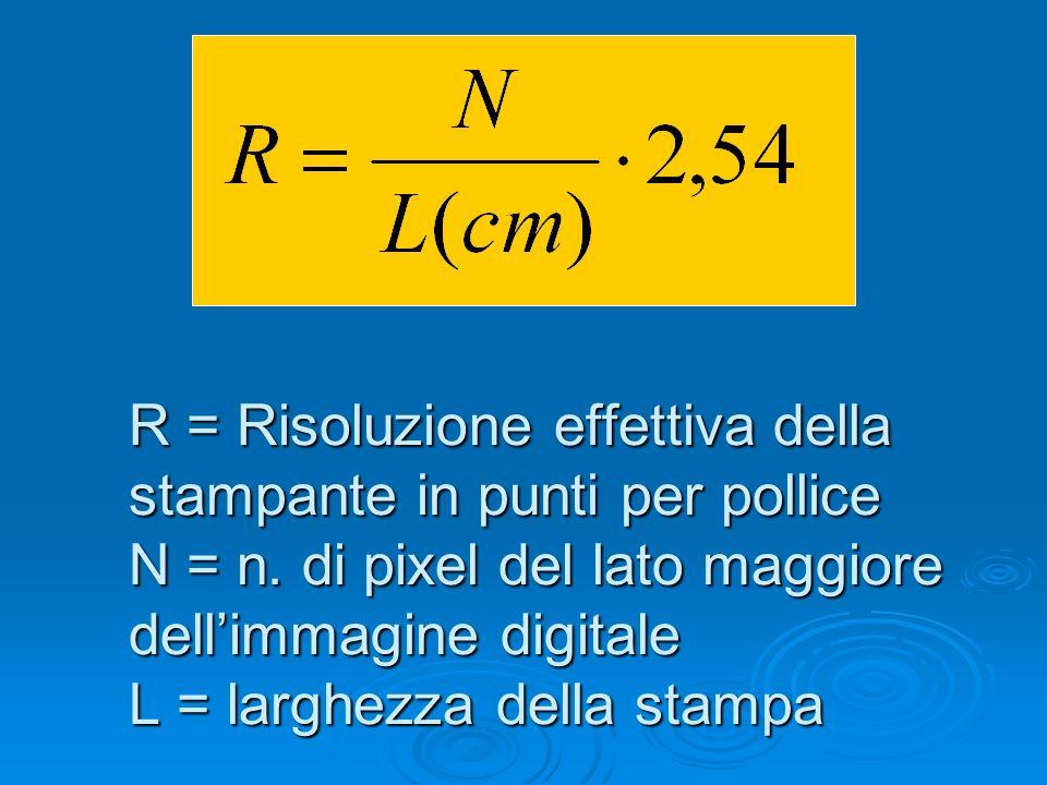 R = Risoluzione effettiva della stampante in punti per pollice N = n