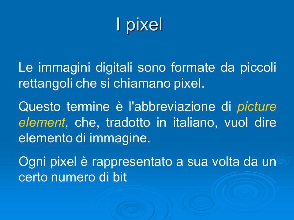 I pixel Le immagini digitali sono formate da piccoli rettangoli che si chiamano pixel.