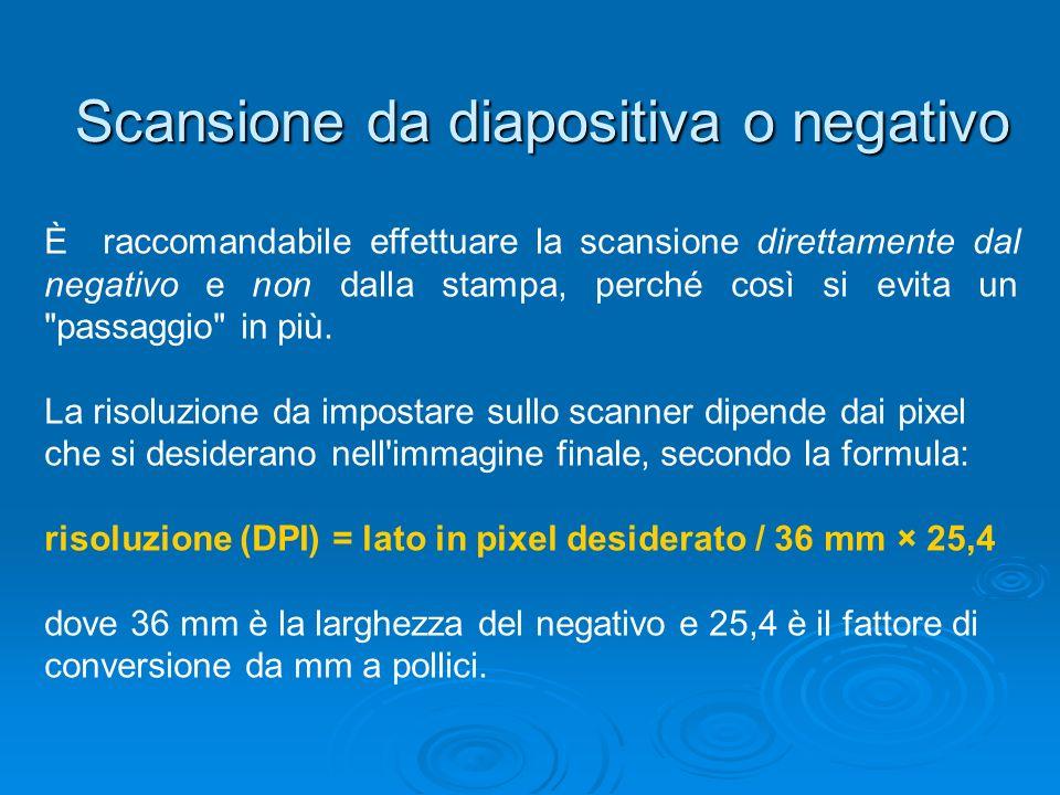 Scansione da diapositiva o negativo