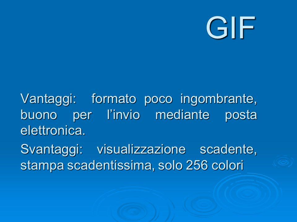 GIF Vantaggi: formato poco ingombrante, buono per l'invio mediante posta elettronica.