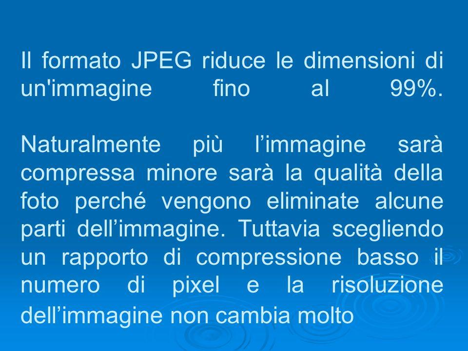 Il formato JPEG riduce le dimensioni di un immagine fino al 99%