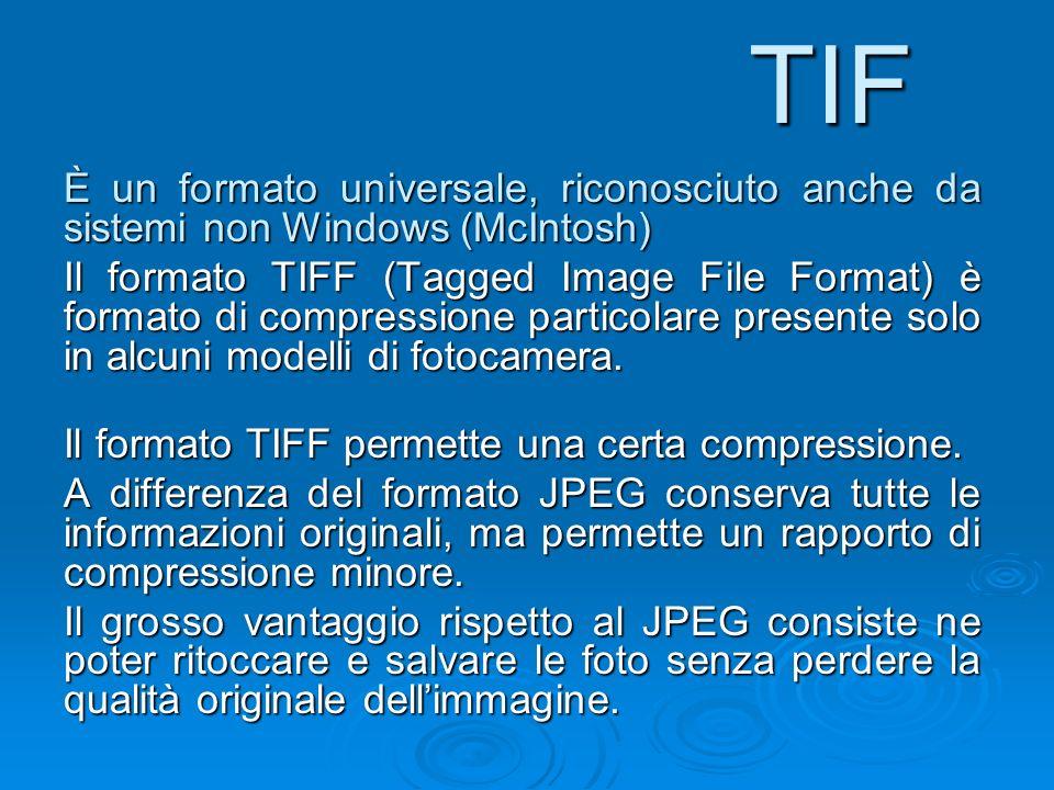 TIF È un formato universale, riconosciuto anche da sistemi non Windows (McIntosh)