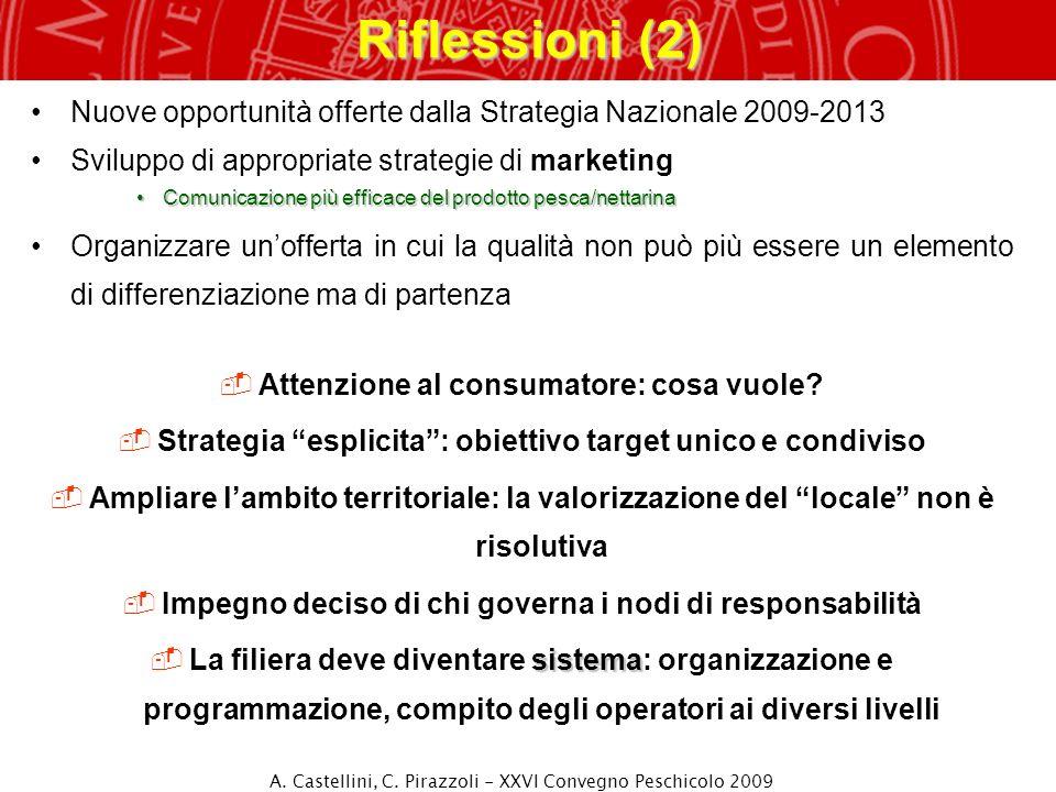 Riflessioni (2) Nuove opportunità offerte dalla Strategia Nazionale 2009-2013. Sviluppo di appropriate strategie di marketing.