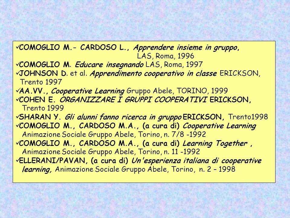 COMOGLIO M.- CARDOSO L., Apprendere insieme in gruppo,