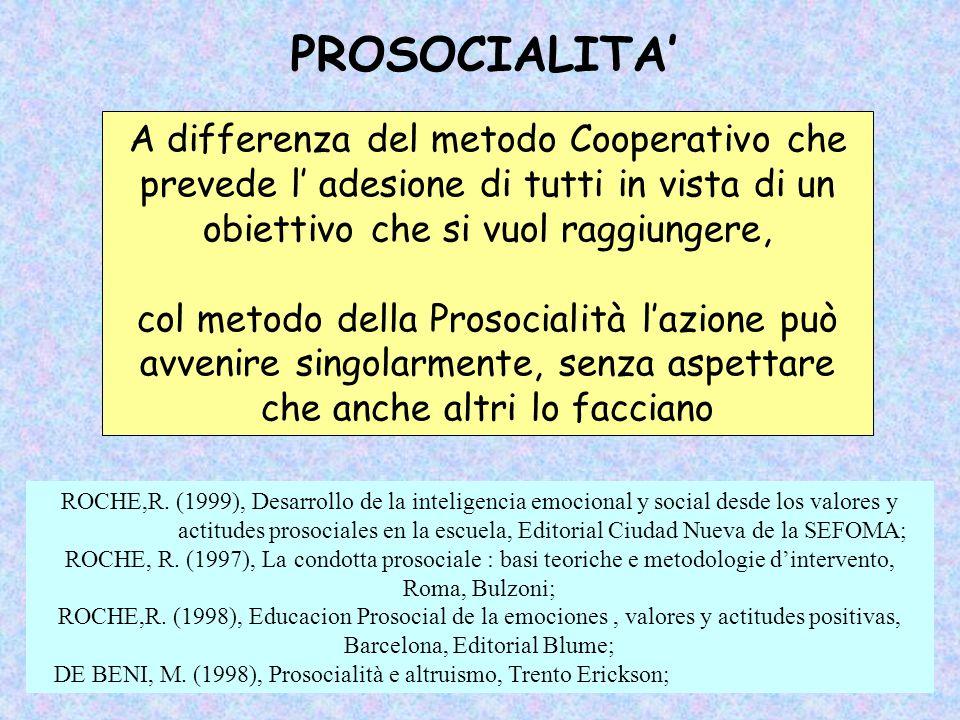 PROSOCIALITA' A differenza del metodo Cooperativo che prevede l' adesione di tutti in vista di un obiettivo che si vuol raggiungere,