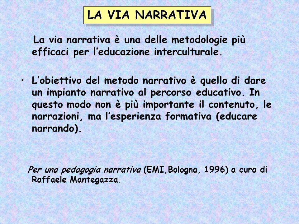 LA VIA NARRATIVA La via narrativa è una delle metodologie più efficaci per l'educazione interculturale.