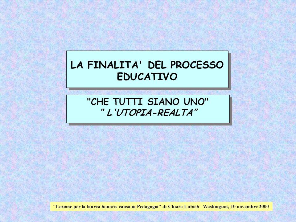 LA FINALITA DEL PROCESSO EDUCATIVO