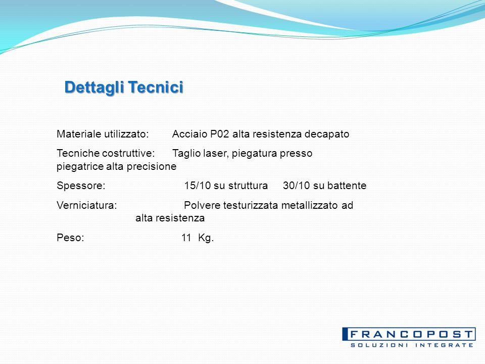 Dettagli Tecnici Materiale utilizzato: Acciaio P02 alta resistenza decapato.