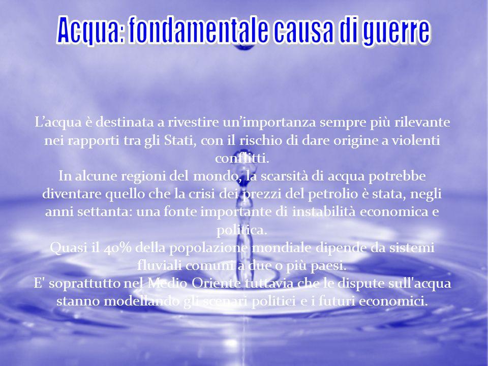 Acqua: fondamentale causa di guerre
