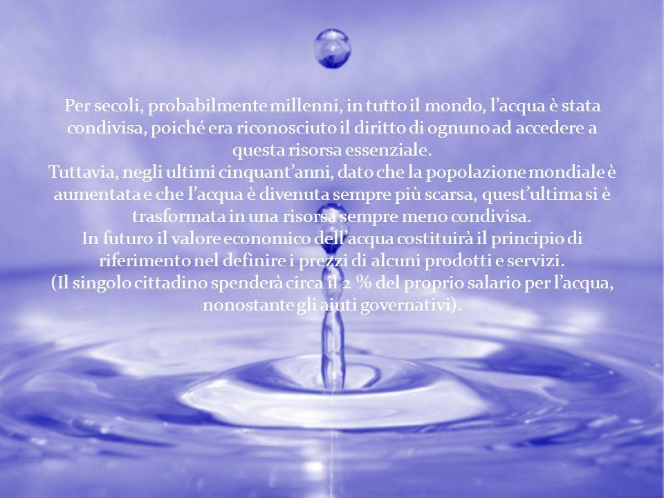 Per secoli, probabilmente millenni, in tutto il mondo, l'acqua è stata condivisa, poiché era riconosciuto il diritto di ognuno ad accedere a questa risorsa essenziale.