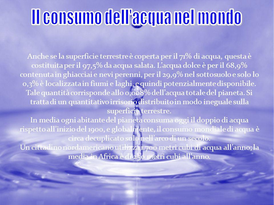 Il consumo dell acqua nel mondo