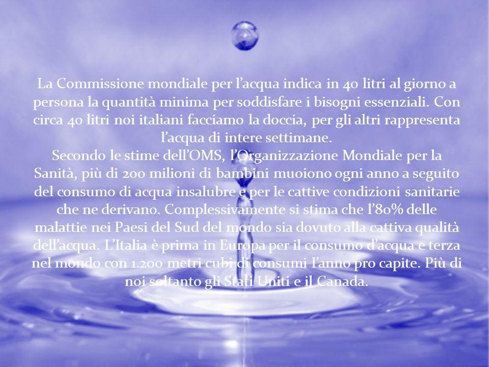 La Commissione mondiale per l'acqua indica in 40 litri al giorno a persona la quantità minima per soddisfare i bisogni essenziali. Con circa 40 litri noi italiani facciamo la doccia, per gli altri rappresenta l'acqua di intere settimane.