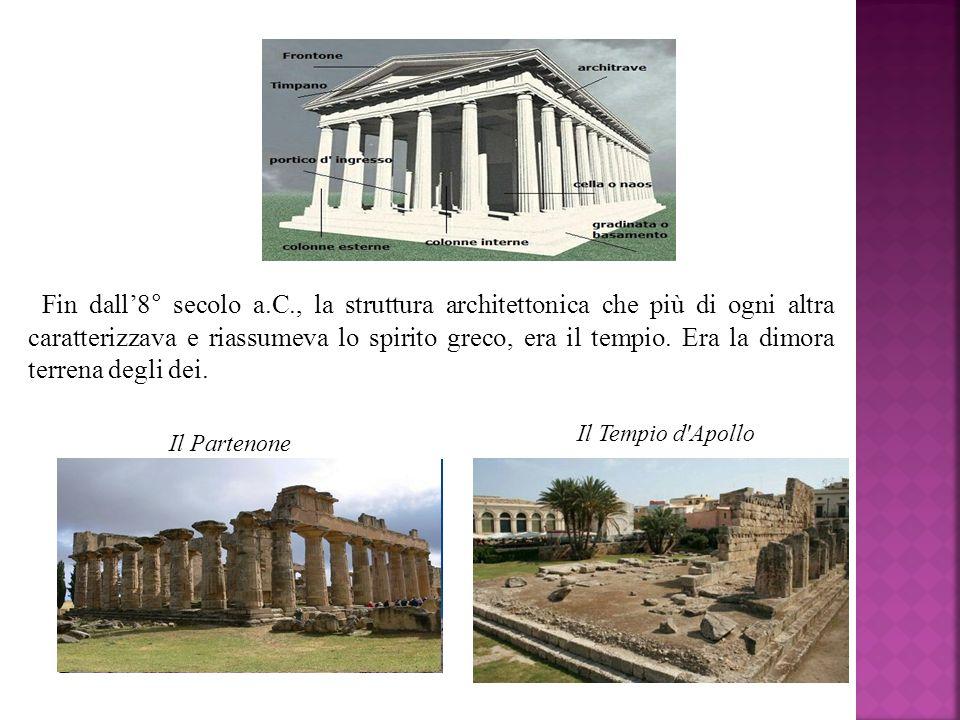 Fin dall'8° secolo a.C., la struttura architettonica che più di ogni altra caratterizzava e riassumeva lo spirito greco, era il tempio. Era la dimora terrena degli dei.