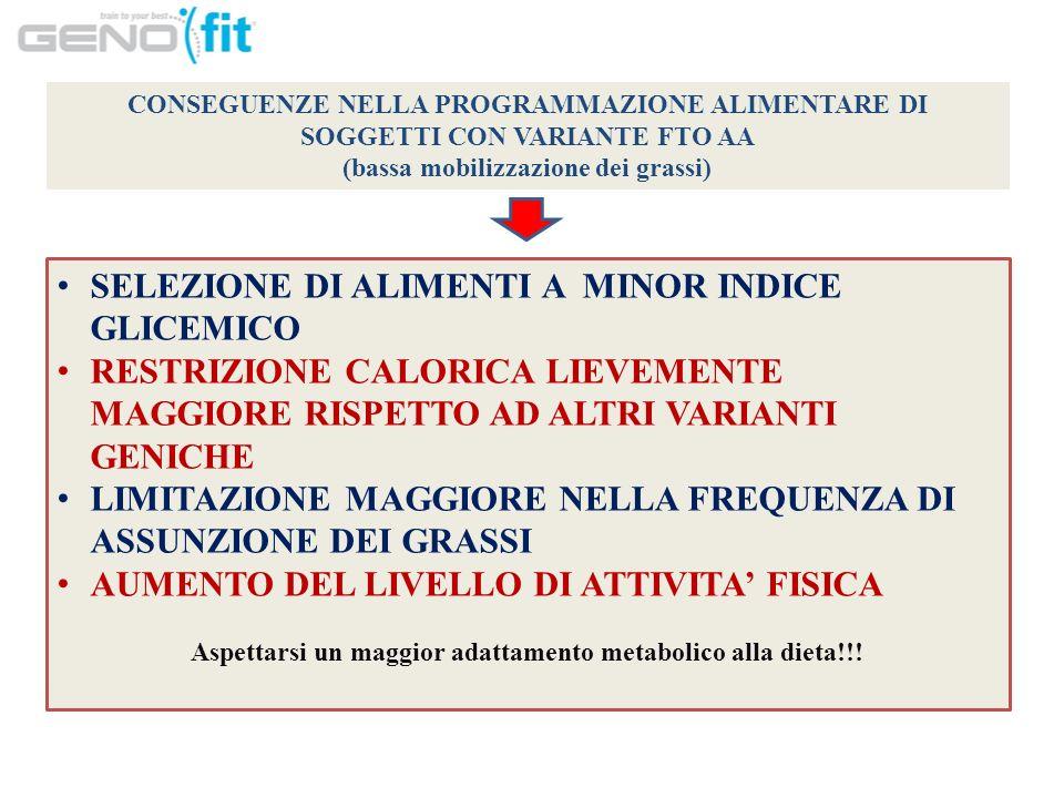 SELEZIONE DI ALIMENTI A MINOR INDICE GLICEMICO