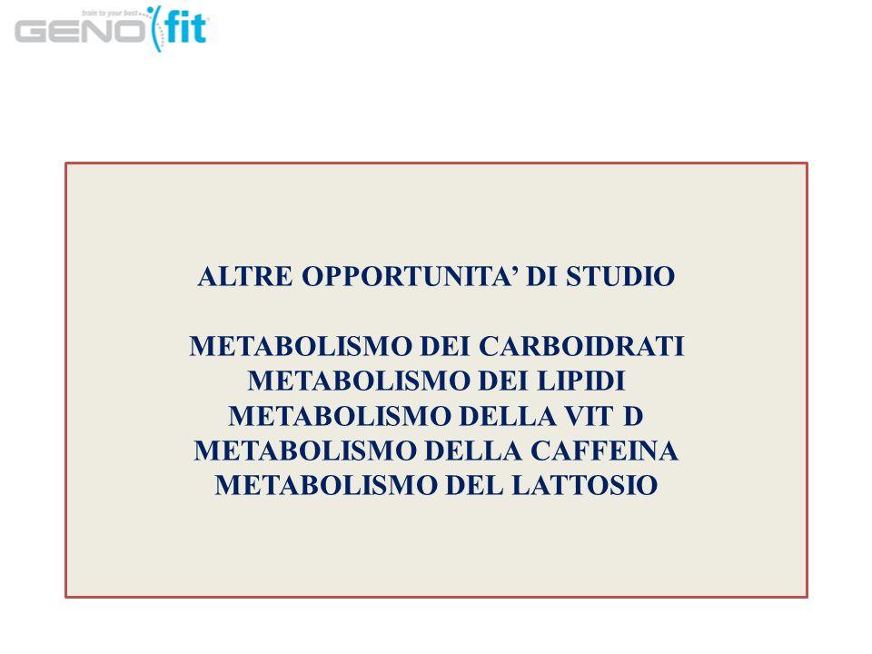 ALTRE OPPORTUNITA' DI STUDIO METABOLISMO DEI CARBOIDRATI METABOLISMO DEI LIPIDI METABOLISMO DELLA VIT D METABOLISMO DELLA CAFFEINA METABOLISMO DEL LATTOSIO