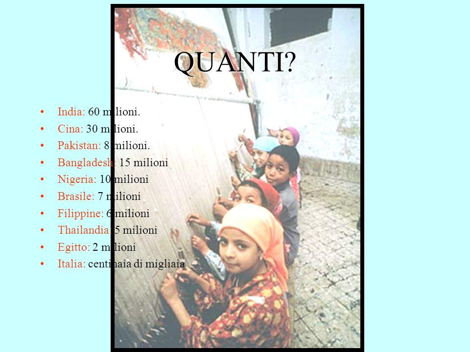 QUANTI India: 60 milioni. Cina: 30 milioni. Pakistan: 8 milioni.