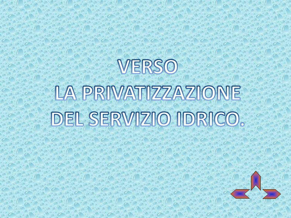 LA PRIVATIZZAZIONE DEL SERVIZIO IDRICO.