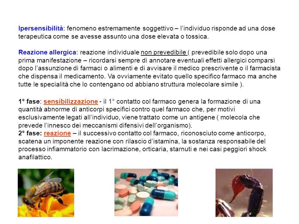 Ipersensibilità: fenomeno estremamente soggettivo – l'individuo risponde ad una dose terapeutica come se avesse assunto una dose elevata o tossica.