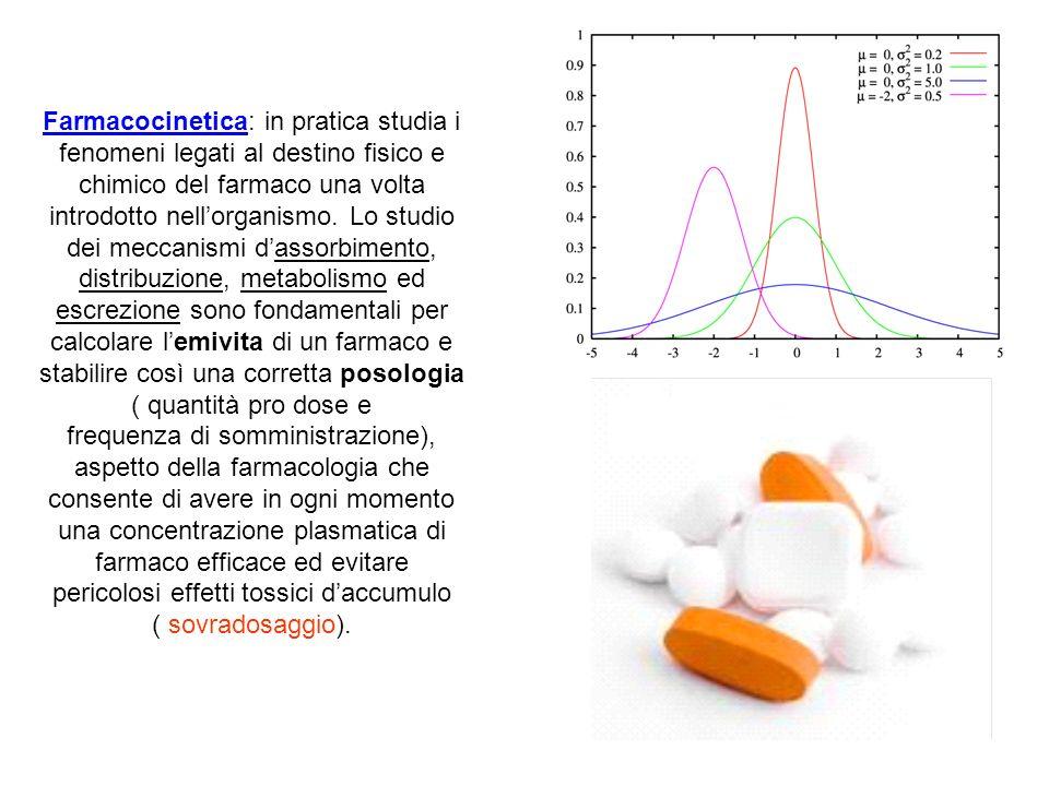 Farmacocinetica: in pratica studia i fenomeni legati al destino fisico e chimico del farmaco una volta introdotto nell'organismo. Lo studio dei meccanismi d'assorbimento, distribuzione, metabolismo ed escrezione sono fondamentali per calcolare l'emivita di un farmaco e stabilire così una corretta posologia ( quantità pro dose e