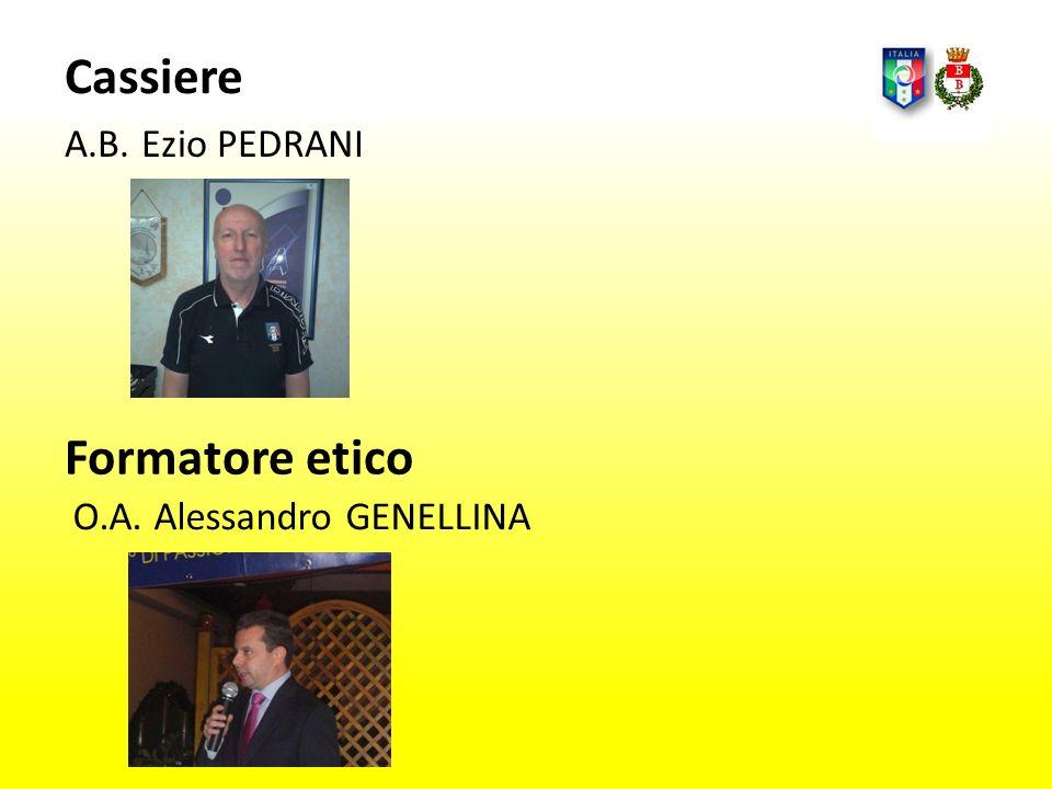 Cassiere A.B. Ezio PEDRANI Formatore etico O.A. Alessandro GENELLINA
