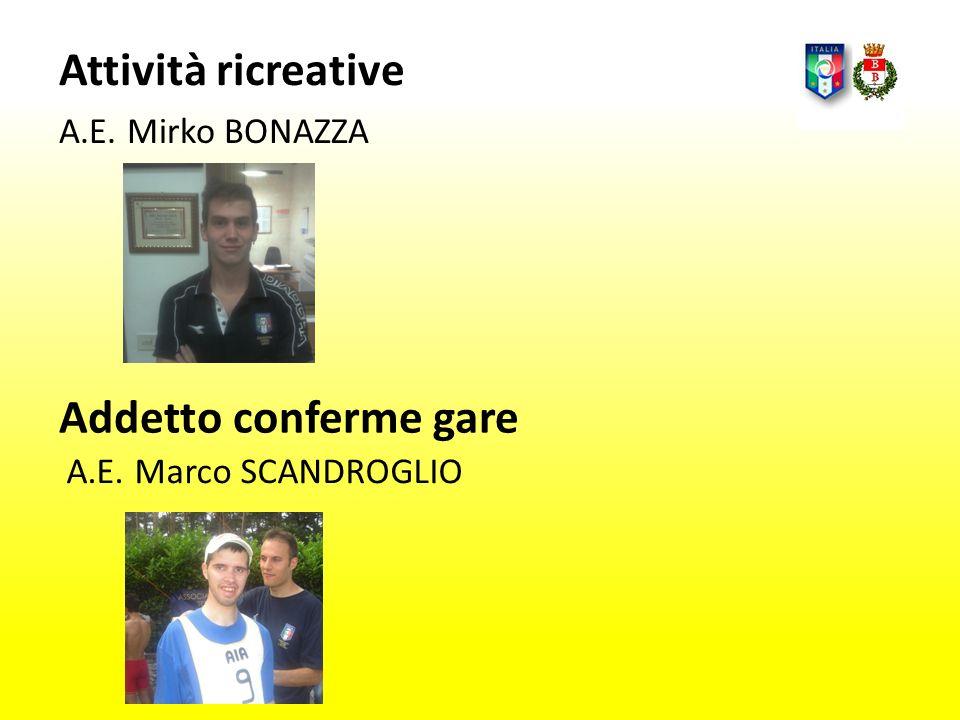 Attività ricreative Addetto conferme gare A.E. Mirko BONAZZA
