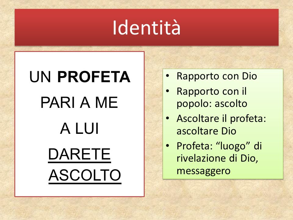 Identità un profeta pari a me a lui darete ascolto Rapporto con Dio