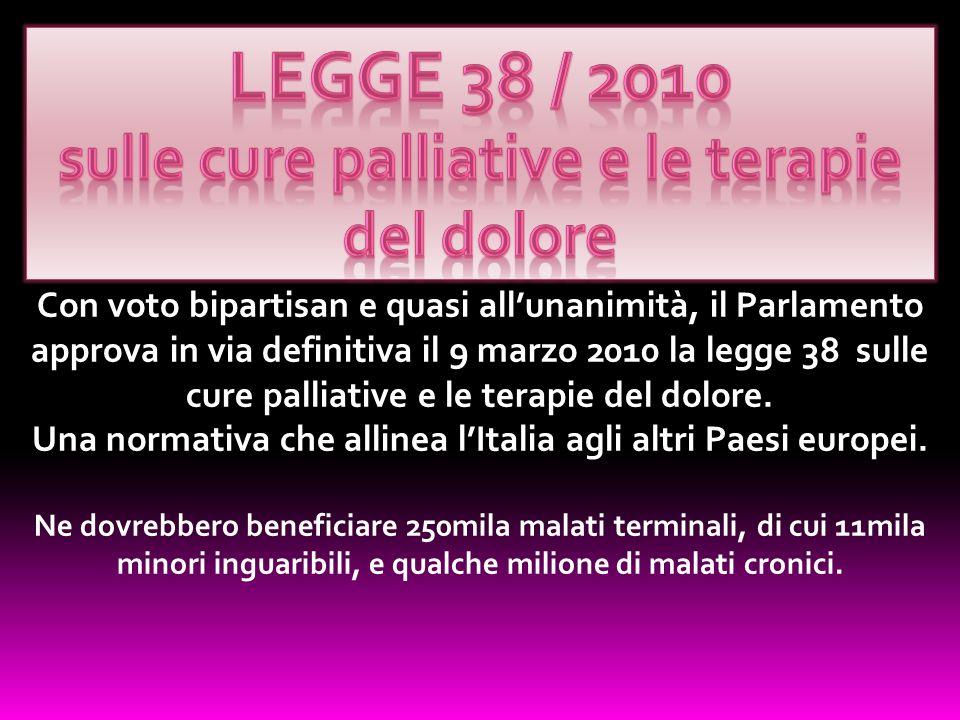 Legge 38 / 2010 sulle cure palliative e le terapie del dolore