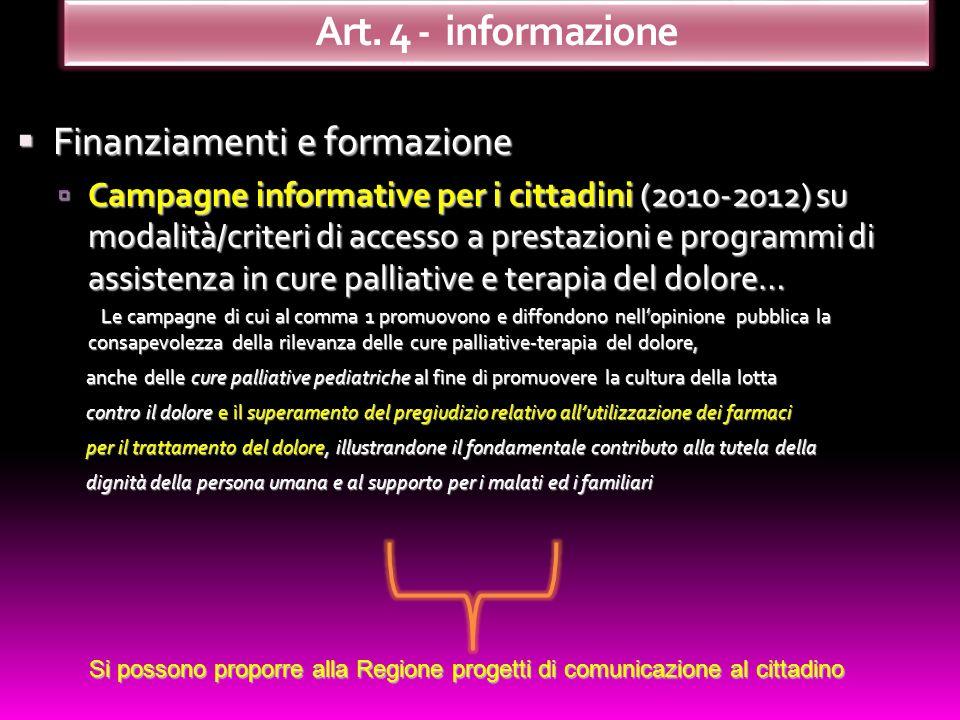 Art. 4 - informazione Finanziamenti e formazione