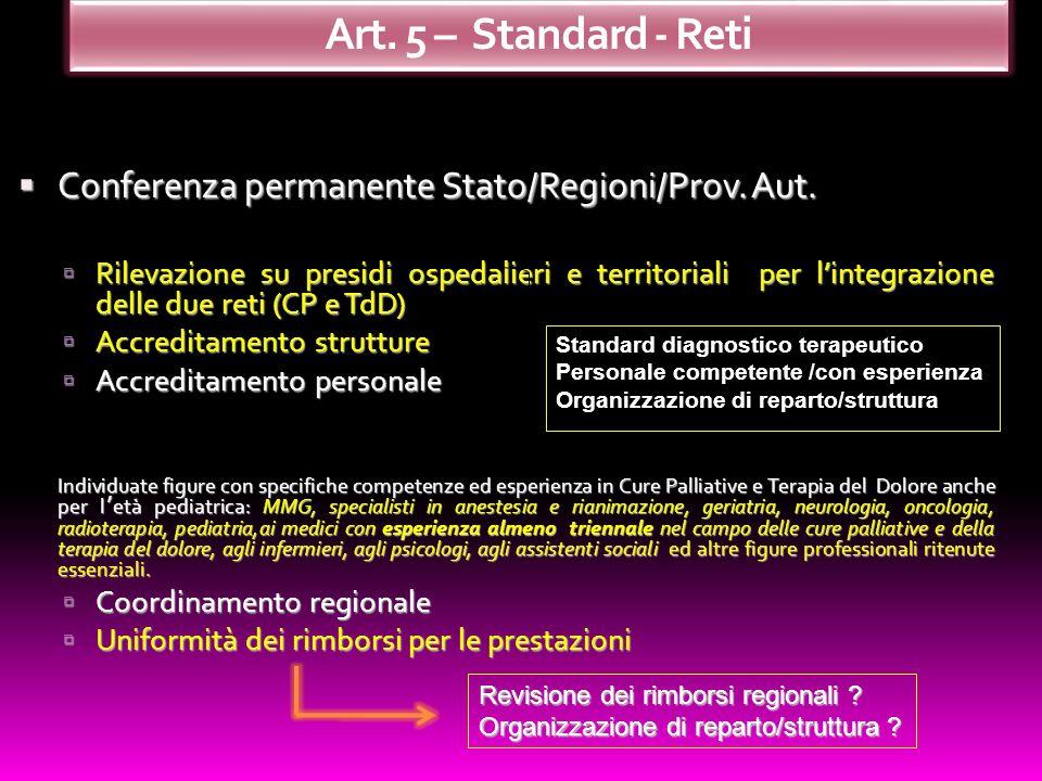 Art. 5 – Standard - Reti Conferenza permanente Stato/Regioni/Prov. Aut.