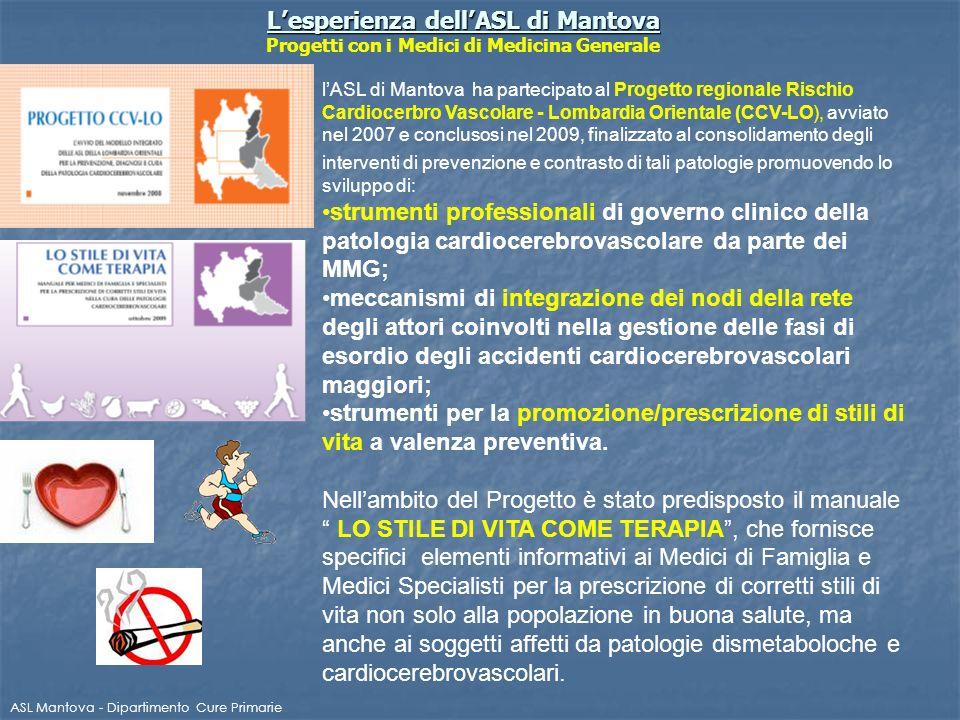 L'esperienza dell'ASL di Mantova Progetti con i Medici di Medicina Generale