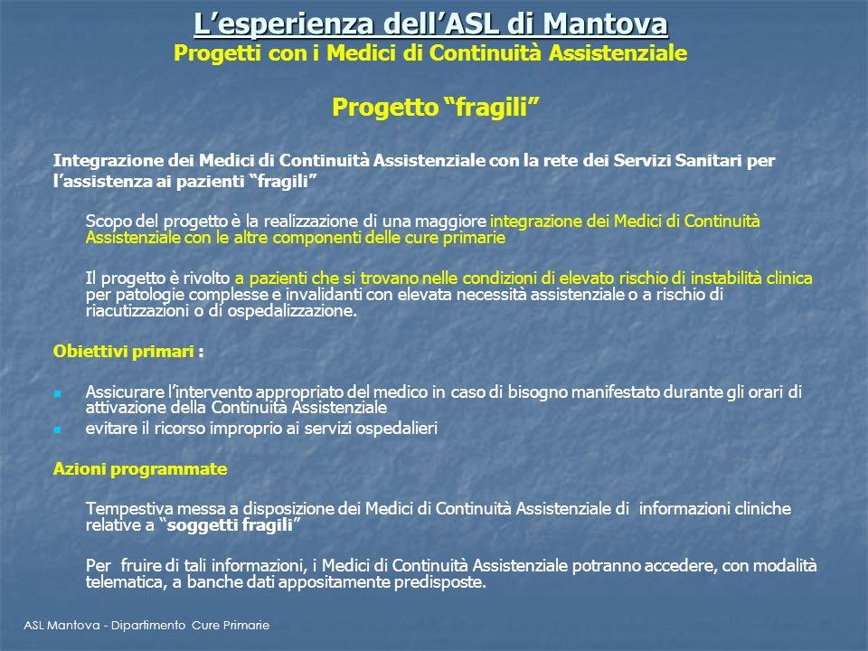 L'esperienza dell'ASL di Mantova Progetti con i Medici di Continuità Assistenziale