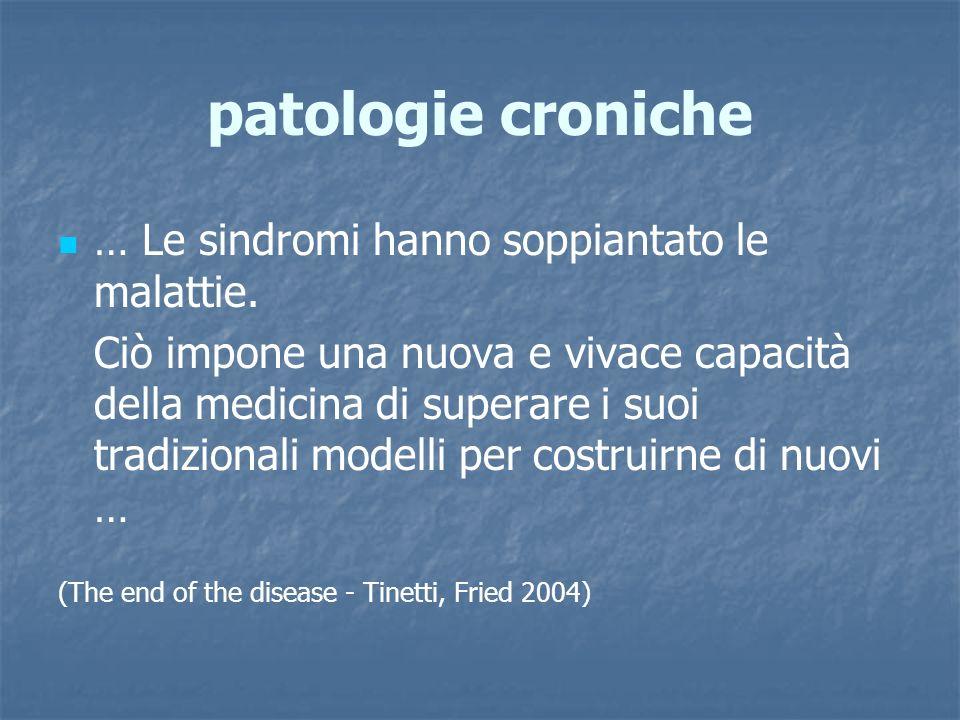 patologie croniche … Le sindromi hanno soppiantato le malattie.
