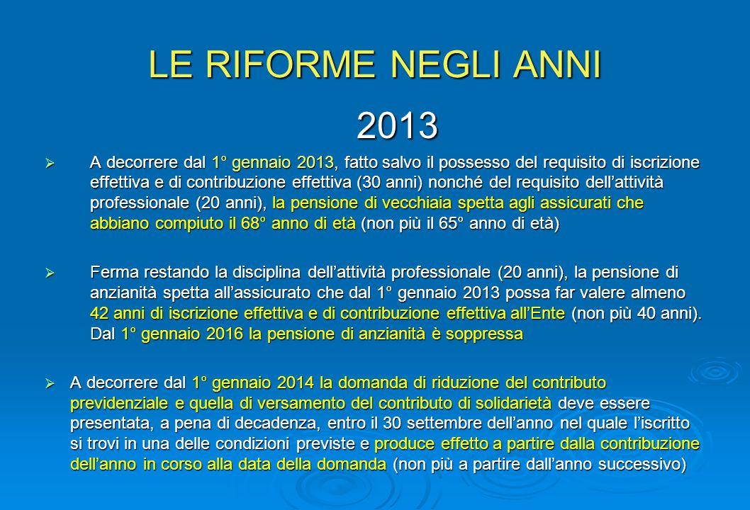 LE RIFORME NEGLI ANNI 2013.