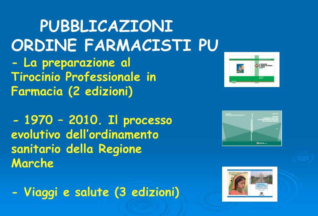 PUBBLICAZIONI ORDINE FARMACISTI PU - La preparazione al Tirocinio Professionale in Farmacia (2 edizioni) - 1970 – 2010.