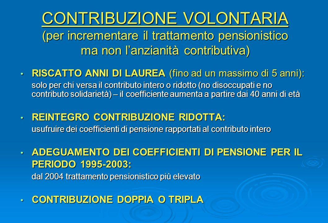 CONTRIBUZIONE VOLONTARIA (per incrementare il trattamento pensionistico ma non l'anzianità contributiva)