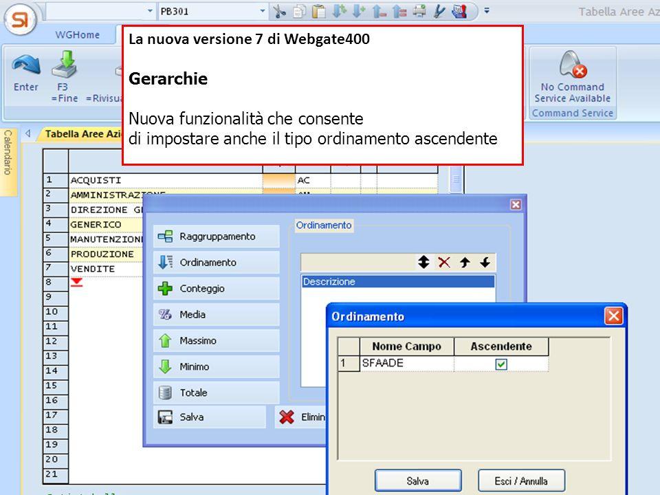 La nuova versione 7 di Webgate400
