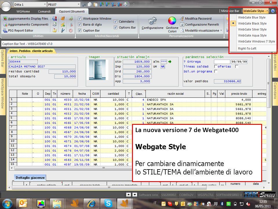La nuova versione 7 de Webgate400