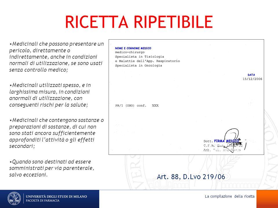 RICETTA RIPETIBILE Art. 88, D.Lvo 219/06