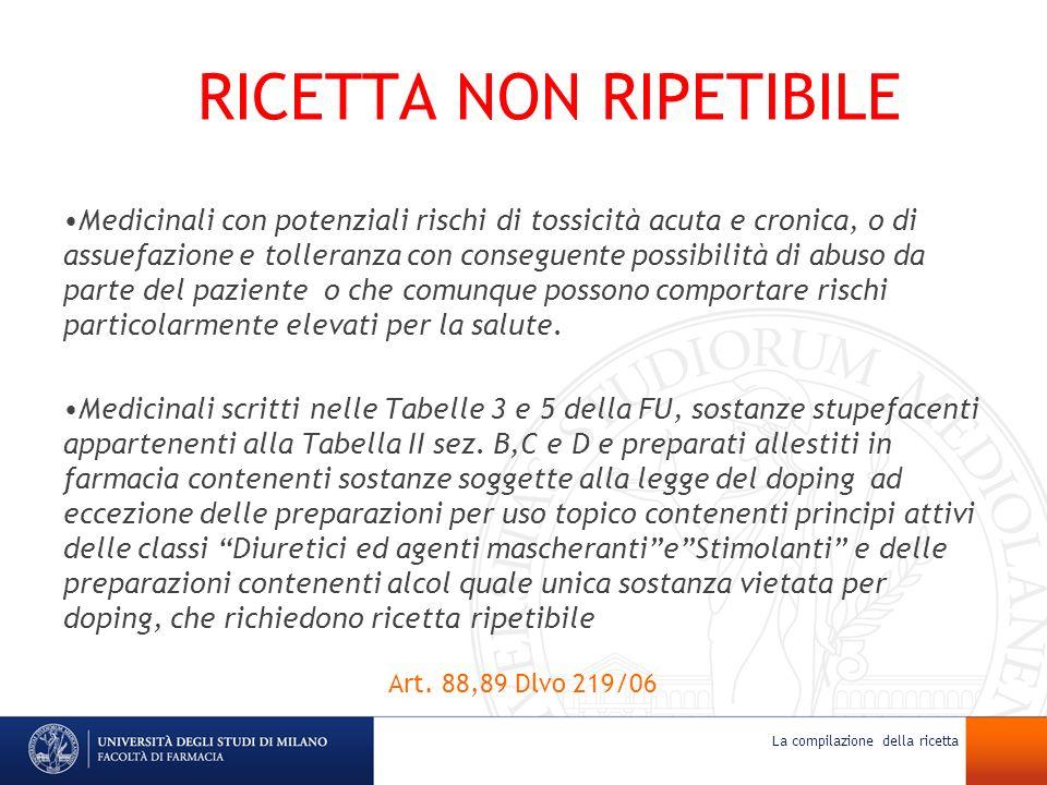 RICETTA NON RIPETIBILE