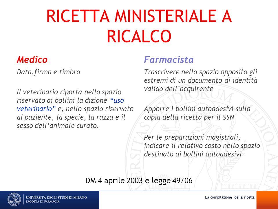RICETTA MINISTERIALE A RICALCO