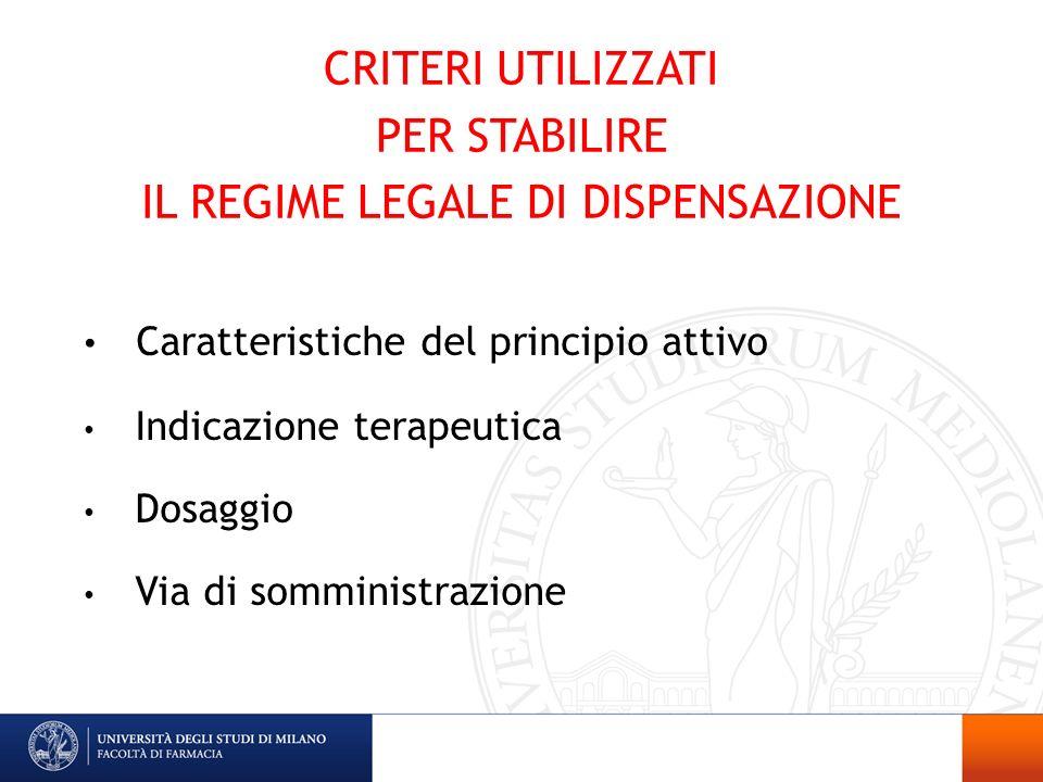 CRITERI UTILIZZATI PER STABILIRE IL REGIME LEGALE DI DISPENSAZIONE