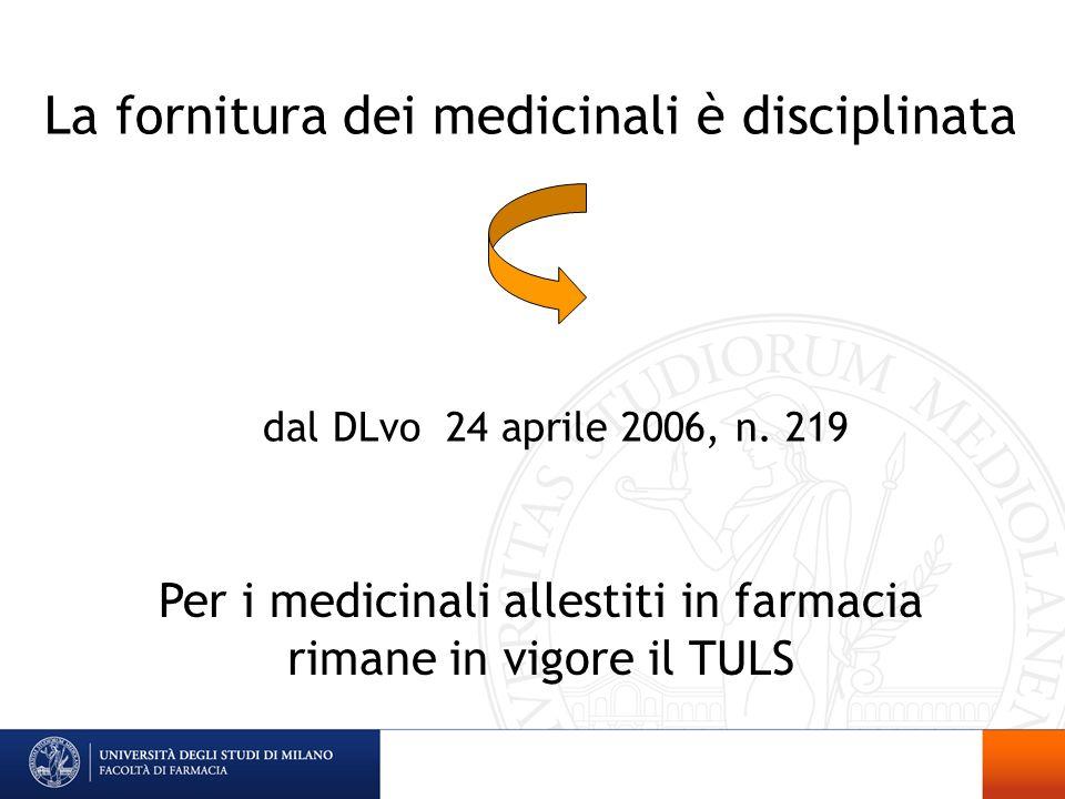 La fornitura dei medicinali è disciplinata