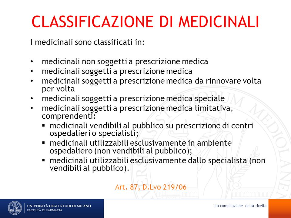 CLASSIFICAZIONE DI MEDICINALI
