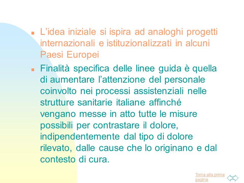 L'idea iniziale si ispira ad analoghi progetti internazionali e istituzionalizzati in alcuni Paesi Europei