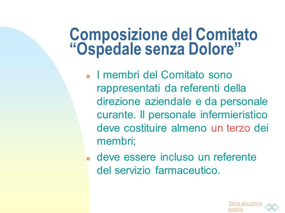 Composizione del Comitato Ospedale senza Dolore