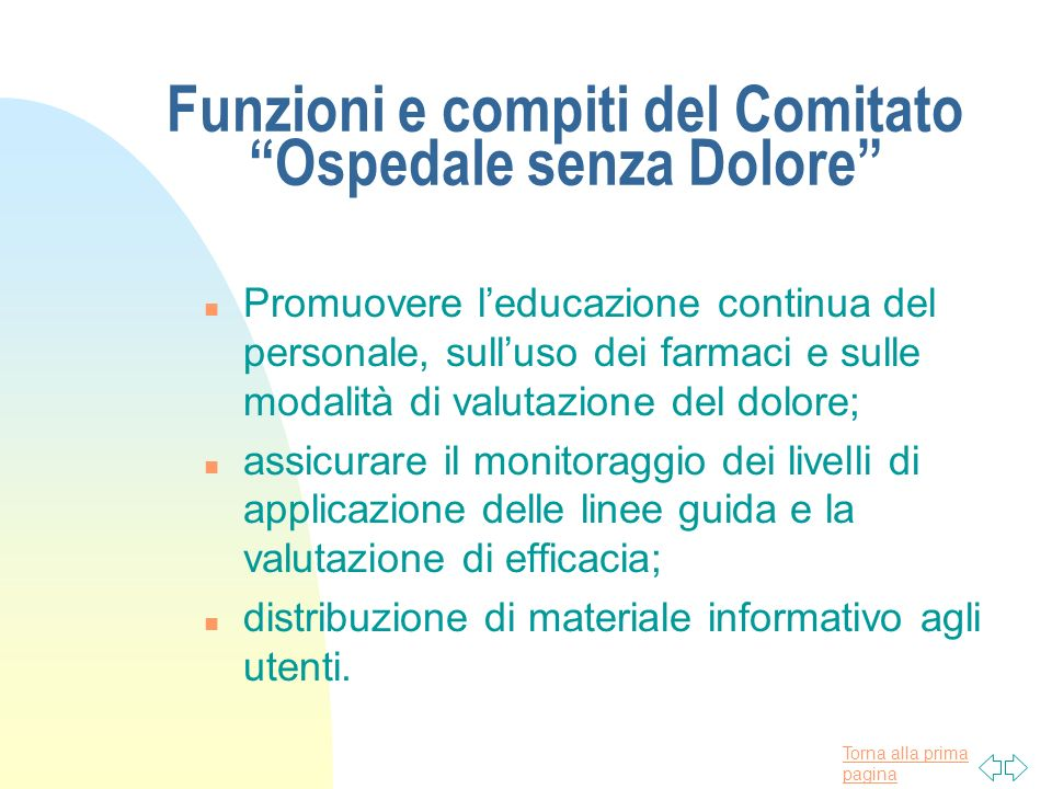 Funzioni e compiti del Comitato Ospedale senza Dolore